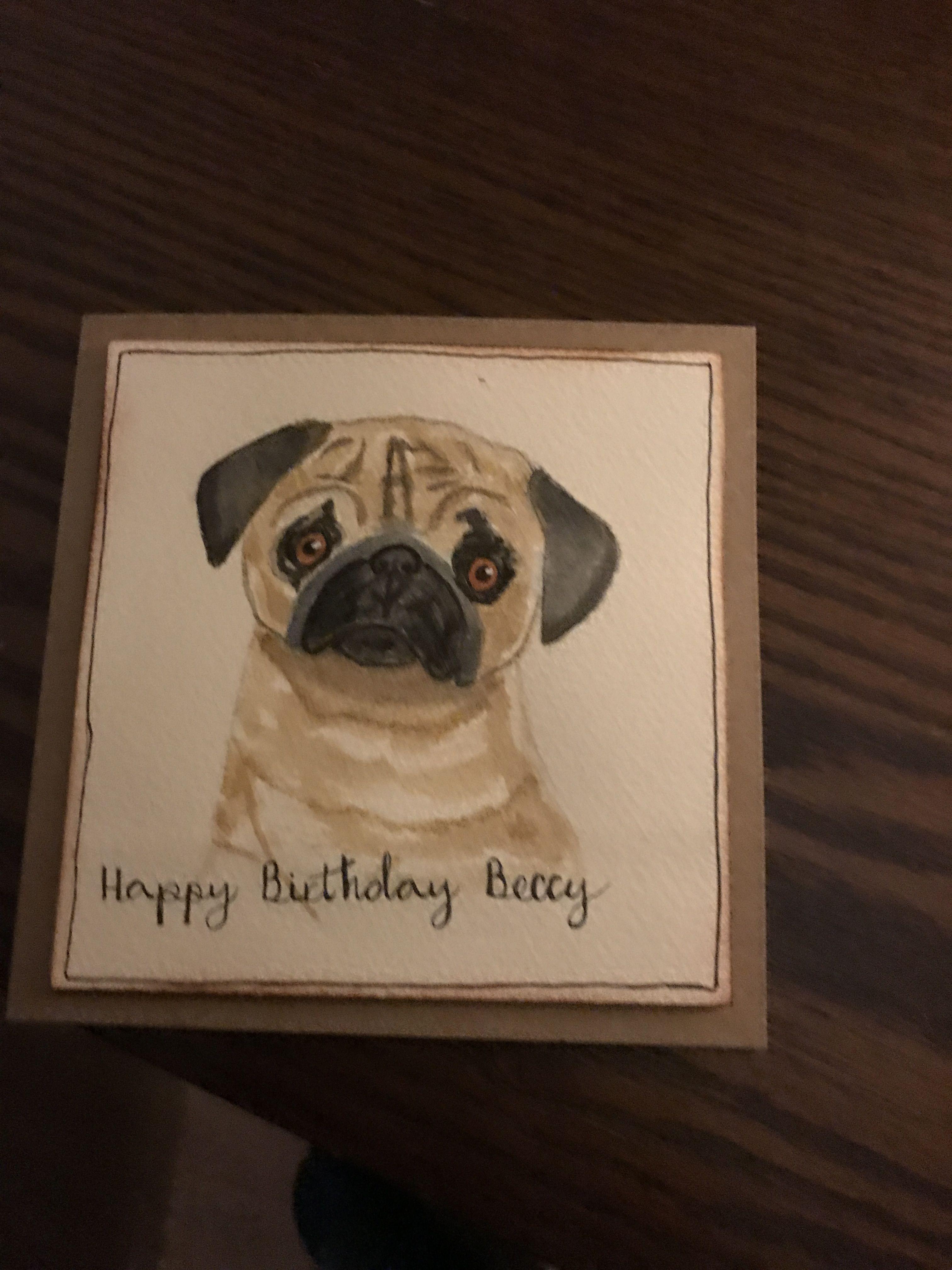Pug Birthday Card Cards Birthday Cards Doodles