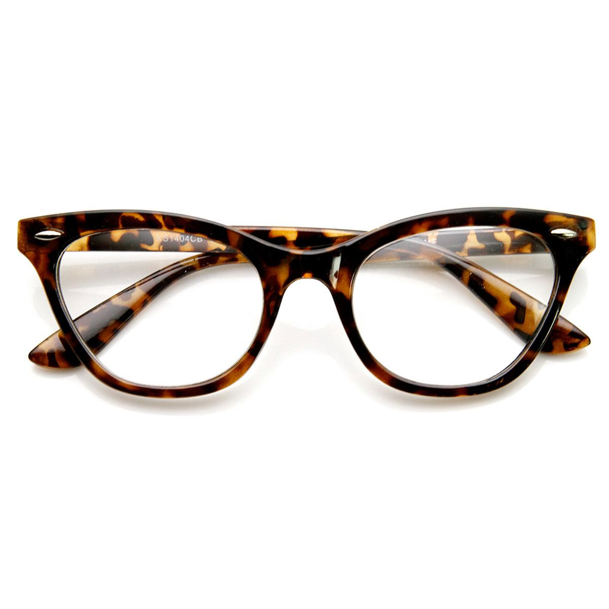 Womens Eyewear Fashion 60s Era Clear Lens Cat Eye Glasses