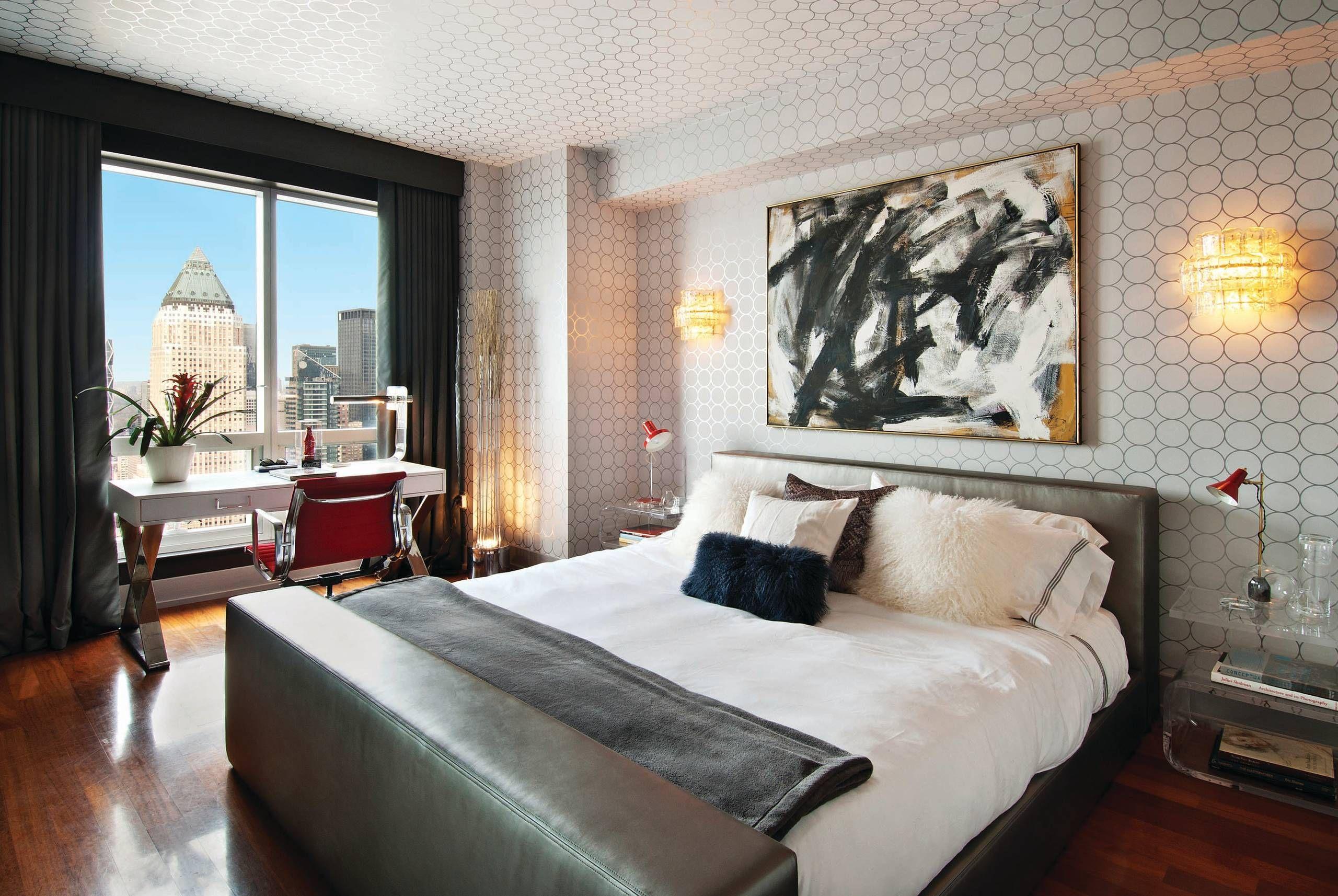 . Modern bedroom circle pattern wallpaper   wallpaper and paint ideas