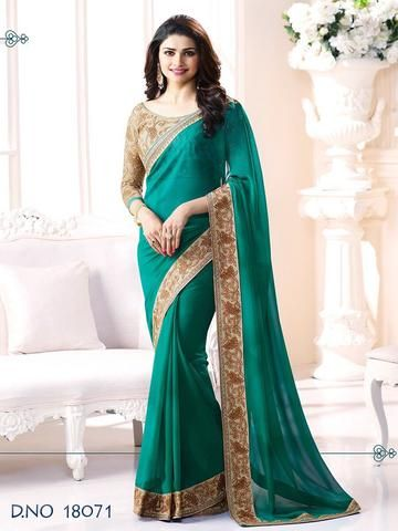 c143f58300 Sea Green Color Major Georgette Saree - f6111353 | sarees online ...