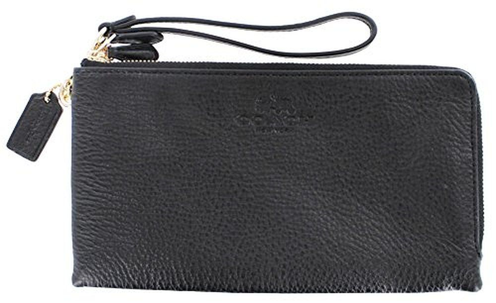 Coach Women's Pebbled Leather Double Zip Wallet Wristlet