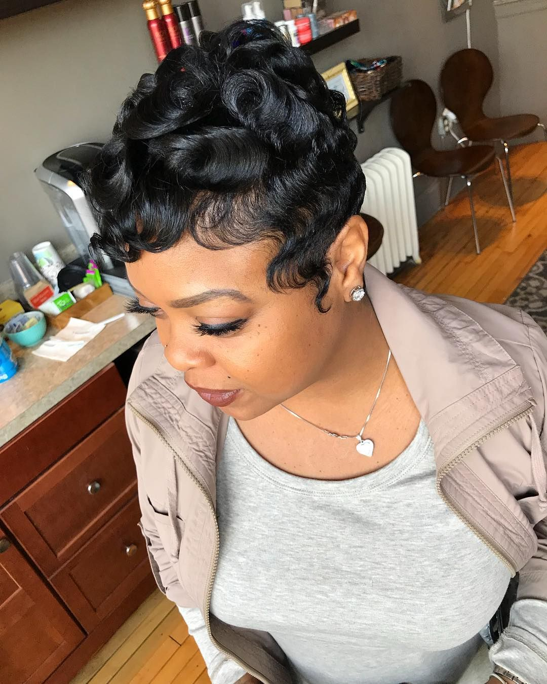 836 Likes 5 Comments The Living Room Hair Lounge Thelivingroomhairlounge On Instagram Haircut Curl Short Sassy Hair Short Hair Styles Pixie Hair Styles
