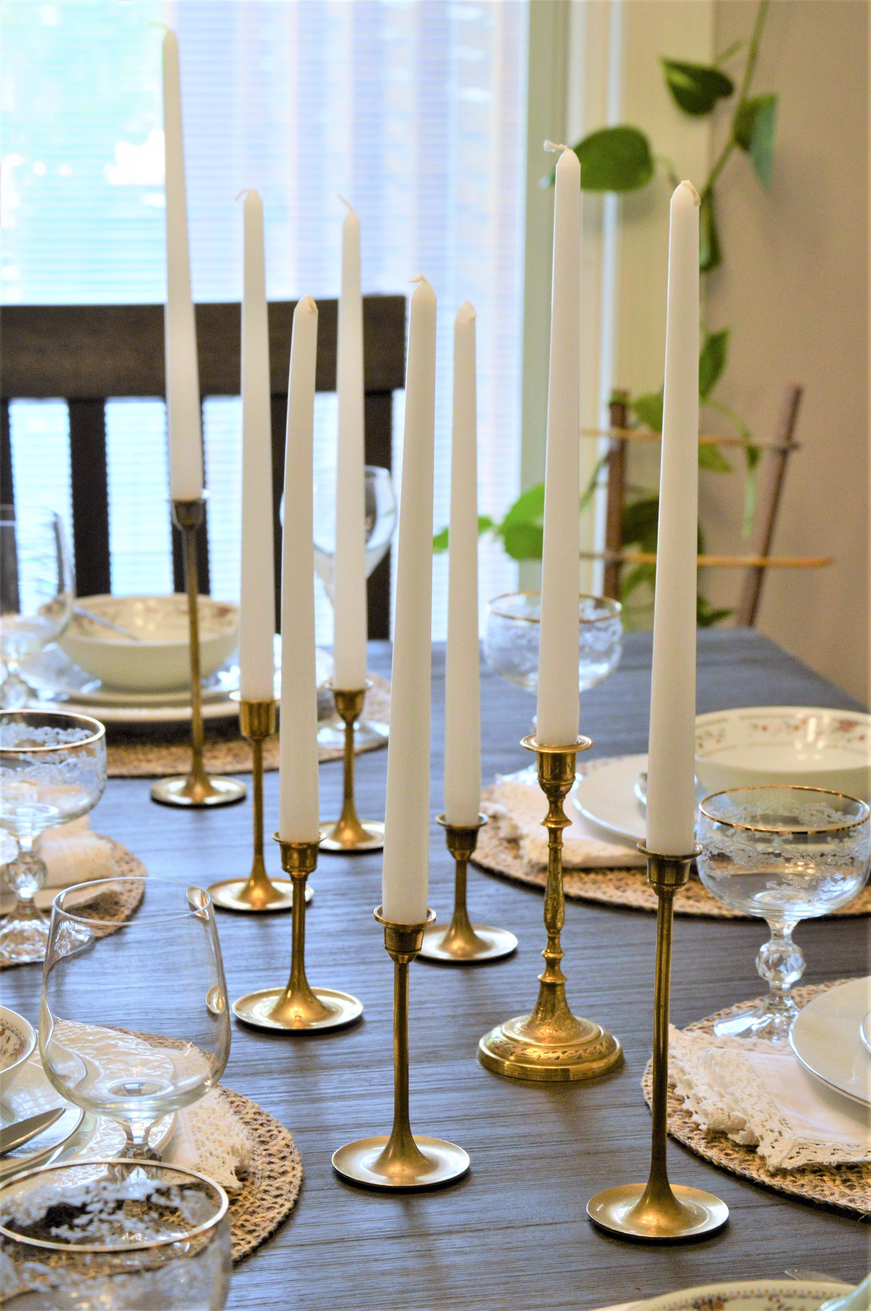 Using Vintage Brass Candlesticks For Tablescape Candlestick Centerpiece Dining Centerpiece Dining Table Centerpiece