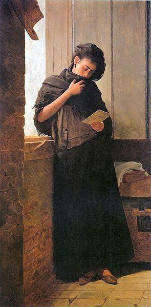 """Saudade"" José Ferraz de Almeida Júnior (1850-1899) - Oil on canvas painting, 101 x 197cm, 1899"