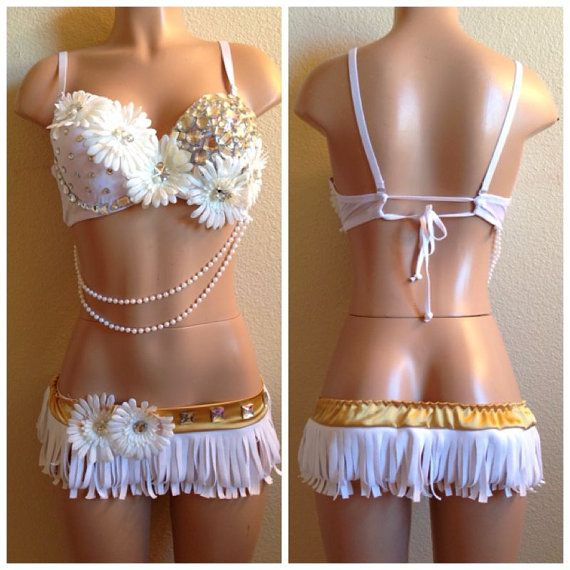 White Daisy Rave Outfit Rave Wear Edc Outfit Edc