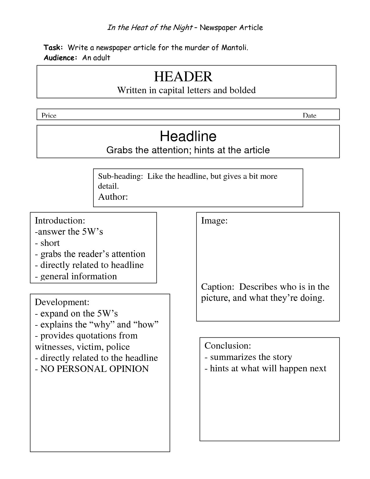 Best Photos Of Writing Newspaper Article Template