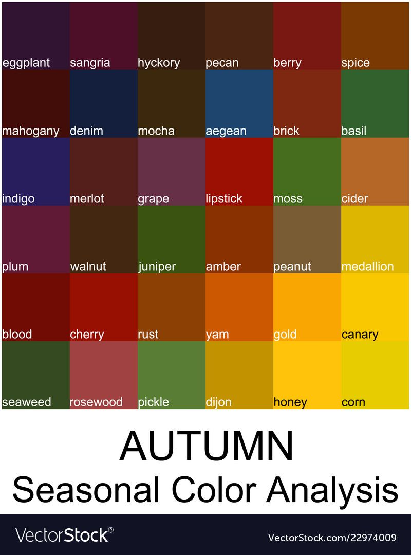 Stock color guide with color names Royalty Free Vector Image #deepautumn