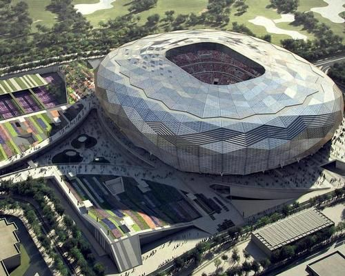 Architecture And Design News From Clad Work Set To Start On Qatar S Diamond Shaped World Cup Stadium Stadium Design World Cup Stadiums Stadium Architecture