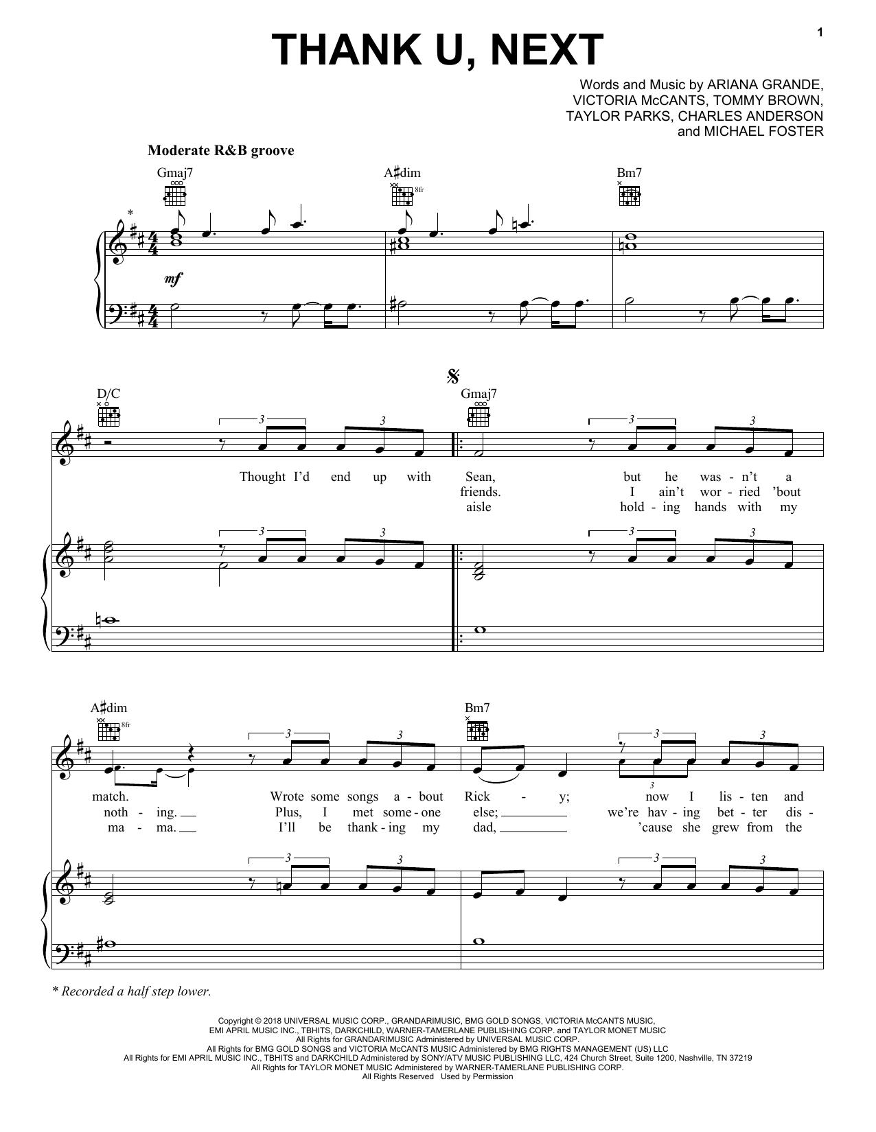 Ariana Grande Thank U Next Sheet Music Notes Chords
