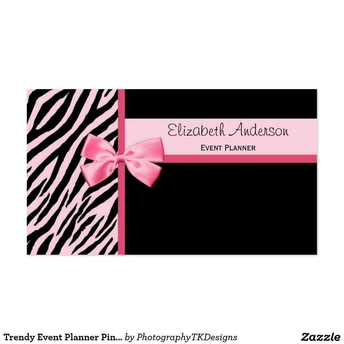 Trendy Event Planner Pink and Black Zebra With Bow Business Card ...