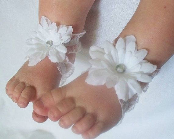 White Flower Baby Barefoot Sandals with gem by FancyFunctional, $12.00