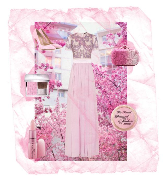 """""""Cherry Blossoms"""" by whimisical76 ❤ liked on Polyvore featuring GE, Roberto Cavalli, Gianvito Rossi, Bottega Veneta, Christian Dior, Too Faced Cosmetics and Giambattista Valli"""
