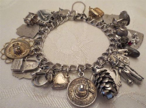 Beau Sterling Silver Vintage Charm Bracelet Loaded With Charms Ebay