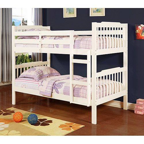 Elise Convertible Twin Over Twin Wood Bunk Bed Soft White Kids