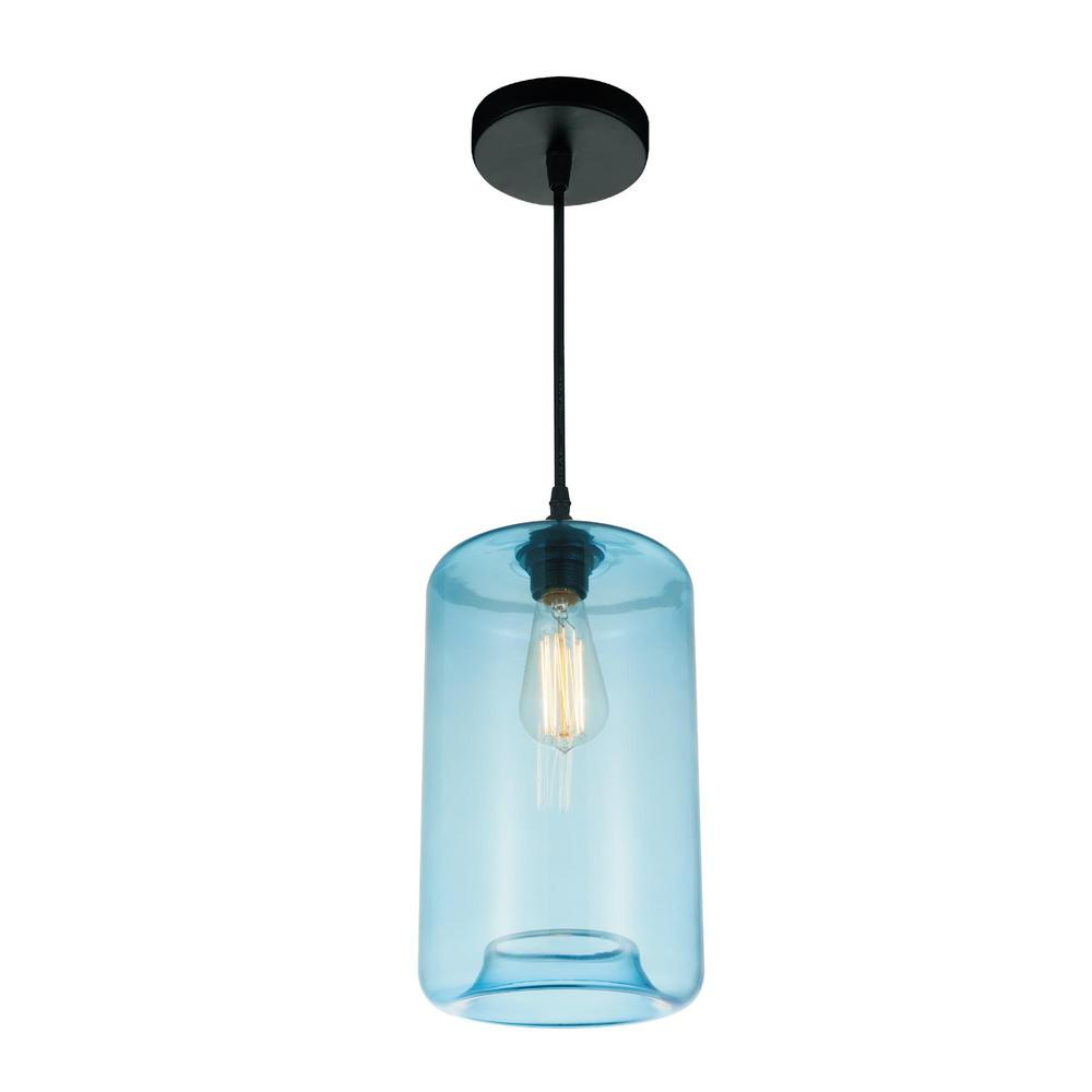 Cwi Lighting Glass 1 Light Transparent Blue Pendant 5553p7 Blue