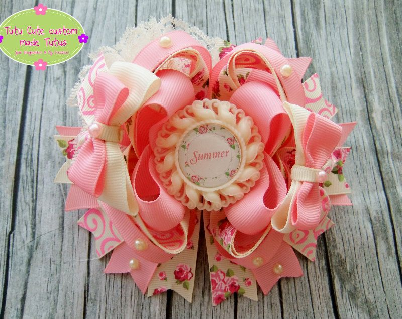 Vintage pink floral rose hair bow https://www.facebook.com/TutuCutecustommadeTutus