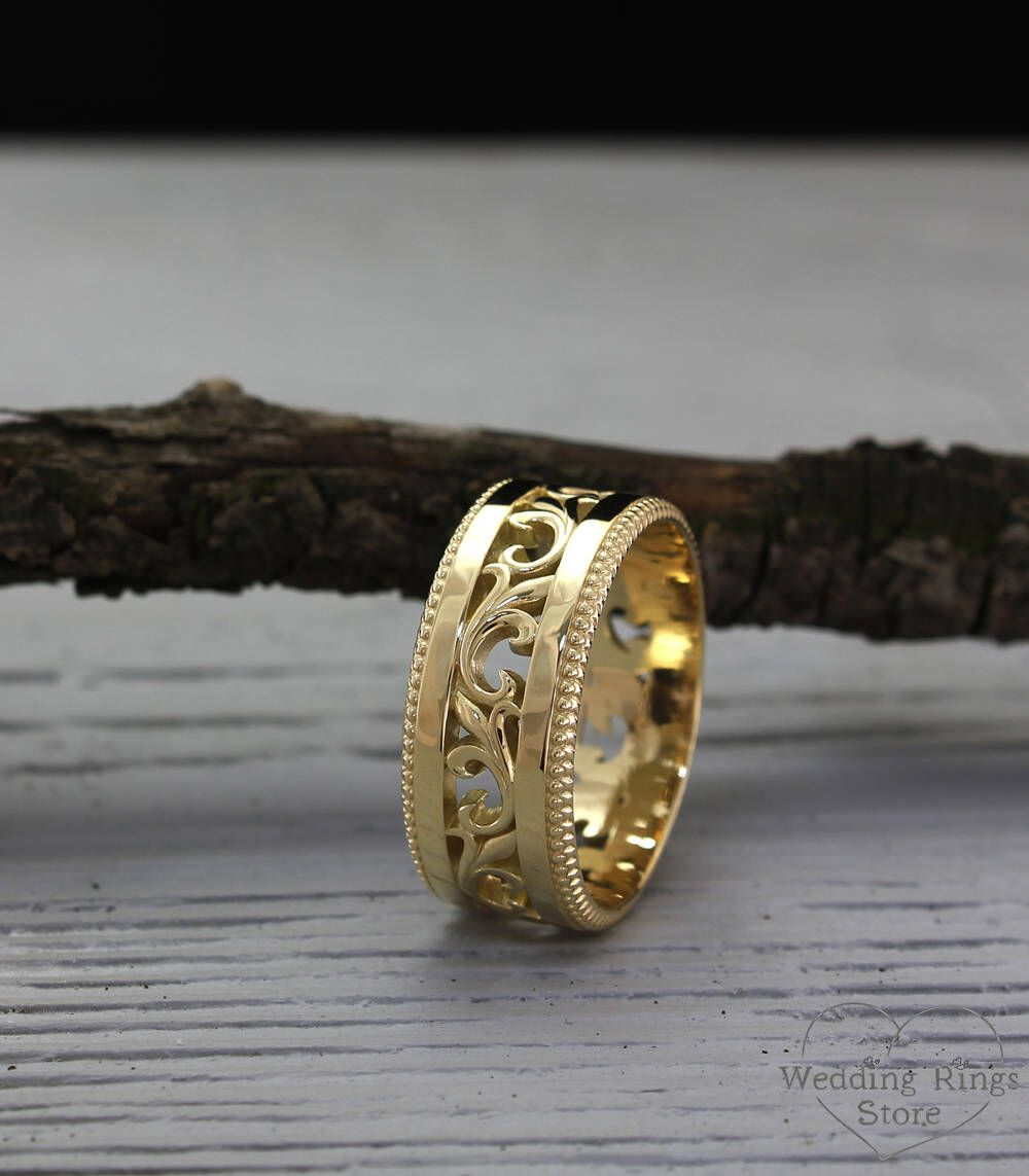 Mens Vintage Style Gold Band Mens Filigree Wedding Band 10mm Etsy Filigree Wedding Band Antique Wedding Rings Mens Wedding Rings Unique