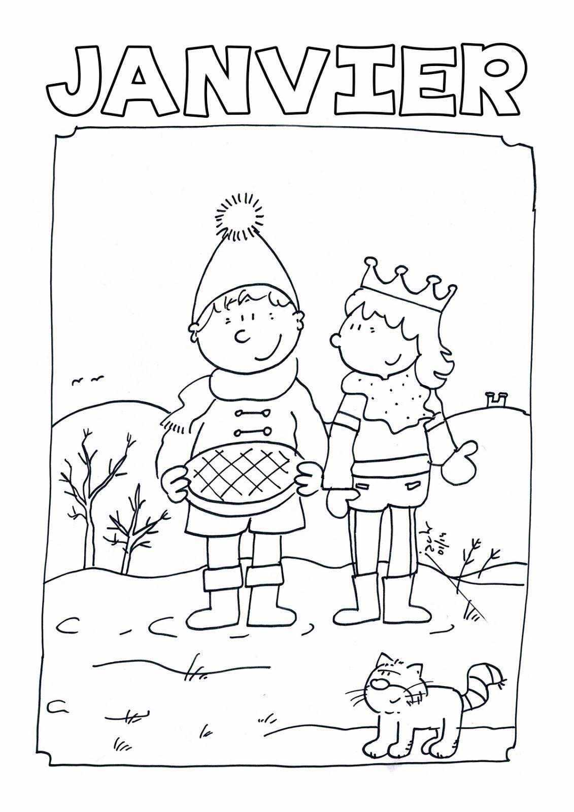 Le dessin de Coloriage janvier pour maternelle est disponible dans la catégorie Coloriage La maternelle 9 Coloriage janvier pour maternelle  Imprimer