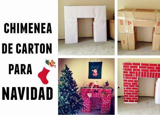Chimenea de carton para Navidad Diy navidad Pinterest