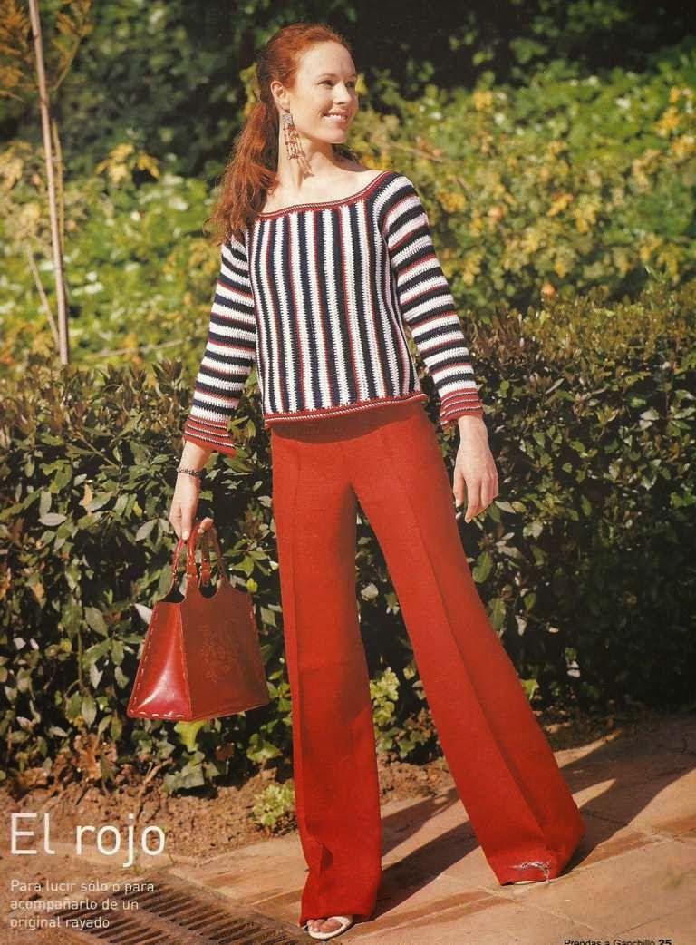 #6 Jersey o Blusa Rayada a Crochet