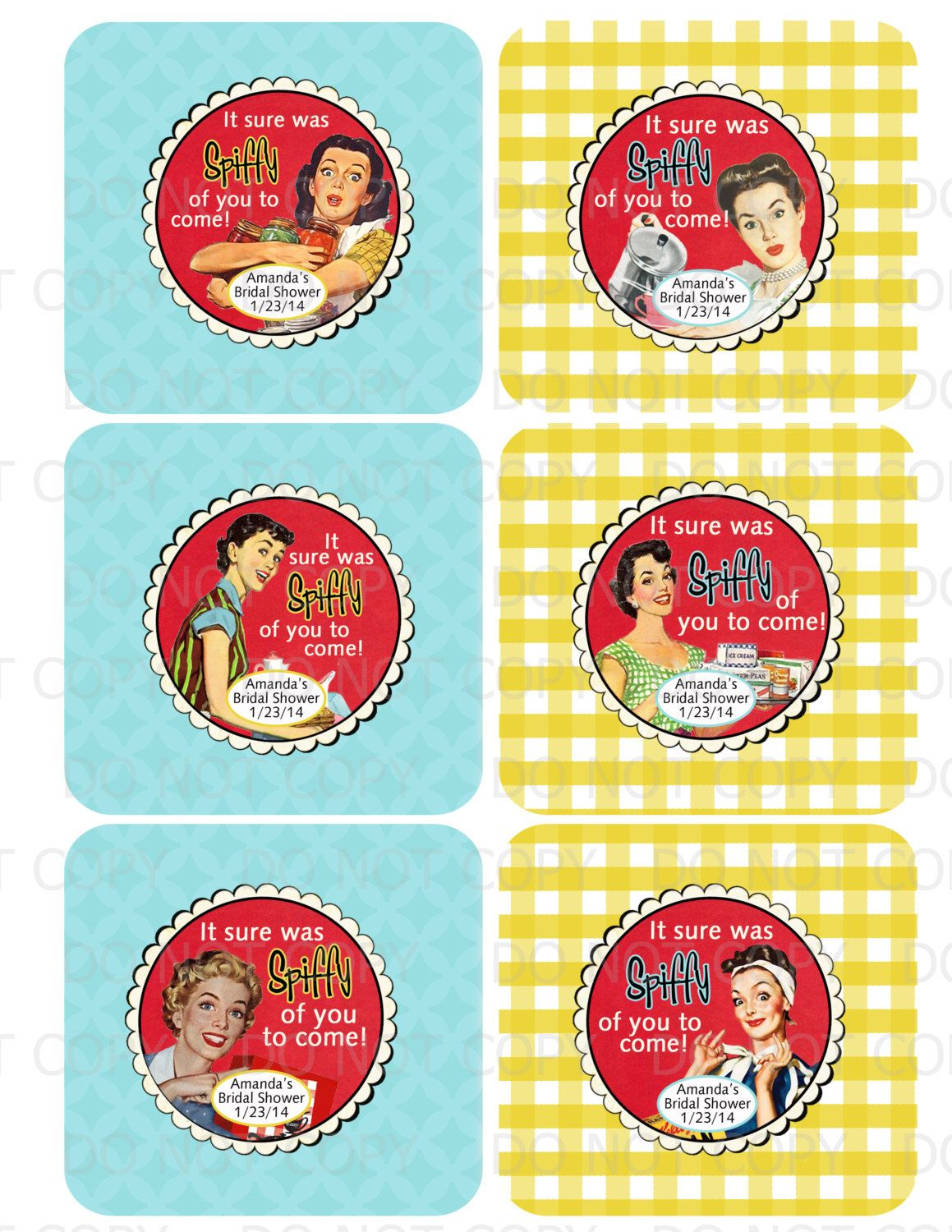 printable personalized retro housewife bridal shower thank you tags labels by onelovedesignsllc on etsy https