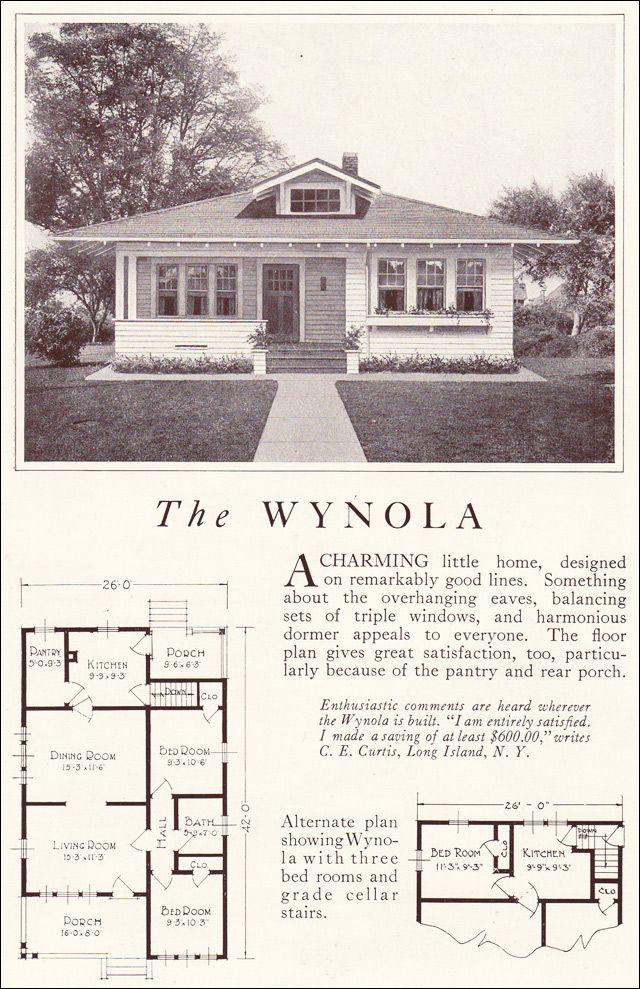 1922 Wynola Lewis Manufacturing Vintage House Plans Cottage Plan House Plans
