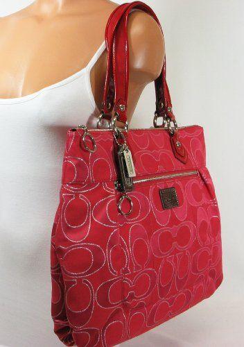 Authentic Coach Signature Poppy Lurex Glam Tote Bag 17890