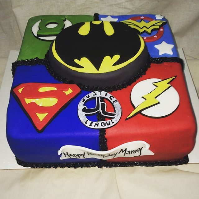 Pleasant Justice League Cake With Images Superhero Birthday Party Boy Funny Birthday Cards Online Kookostrdamsfinfo
