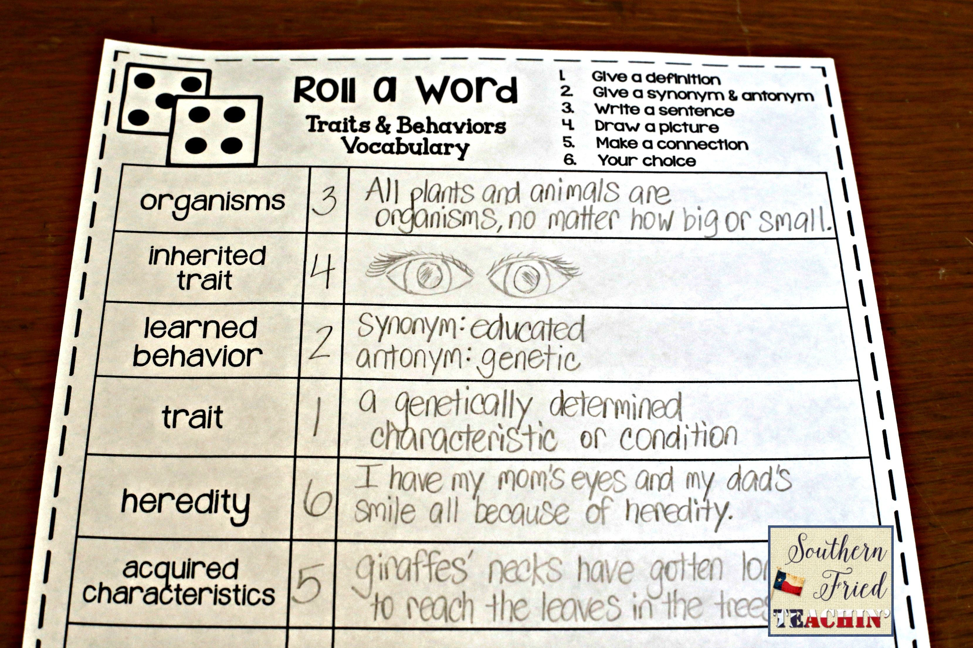 Traits Amp Learned Behaviors Fun Interactive Vocabulary Dice Activity Editable