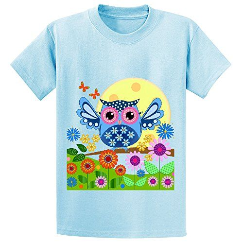 Snowl Spring Owl In A Flower Garden Girls Crew Neck Personalized Tees Lblue -- Want to know more, click on the image.