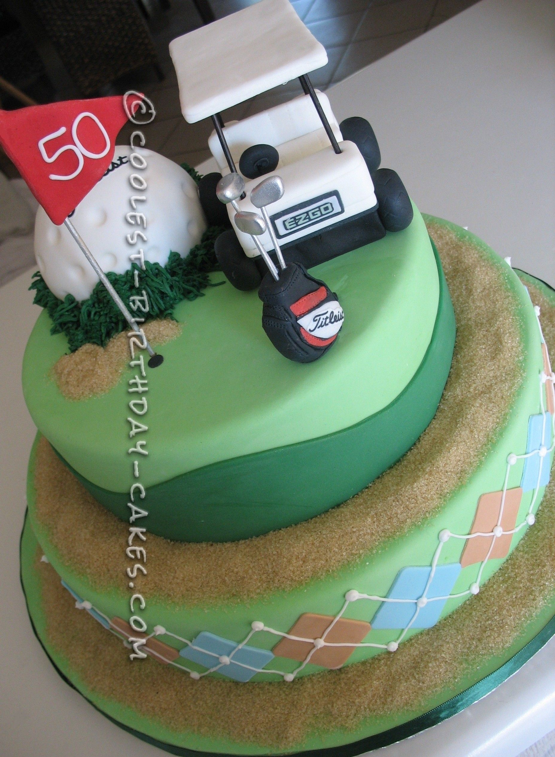 Golf Themed 50th Birthday Cake