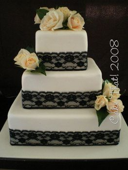 More Examples Of The Black Lace Wedding Cake Style Which I Am Fond