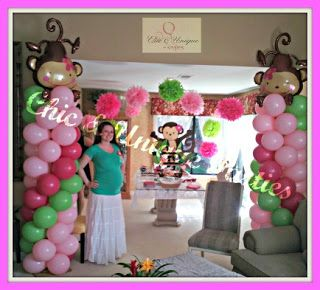 Girl monkey balloon towers for a baby shower hot pink light pink lime green color pallet - Monkey balloons for baby shower ...