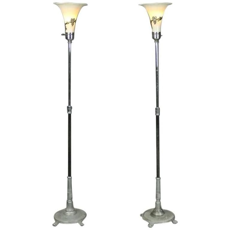 Pair Of Antique French Art Nouveau Torchiere Floor Lamps Circa 1920 French Art French Antiques Torchiere Floor Lamp