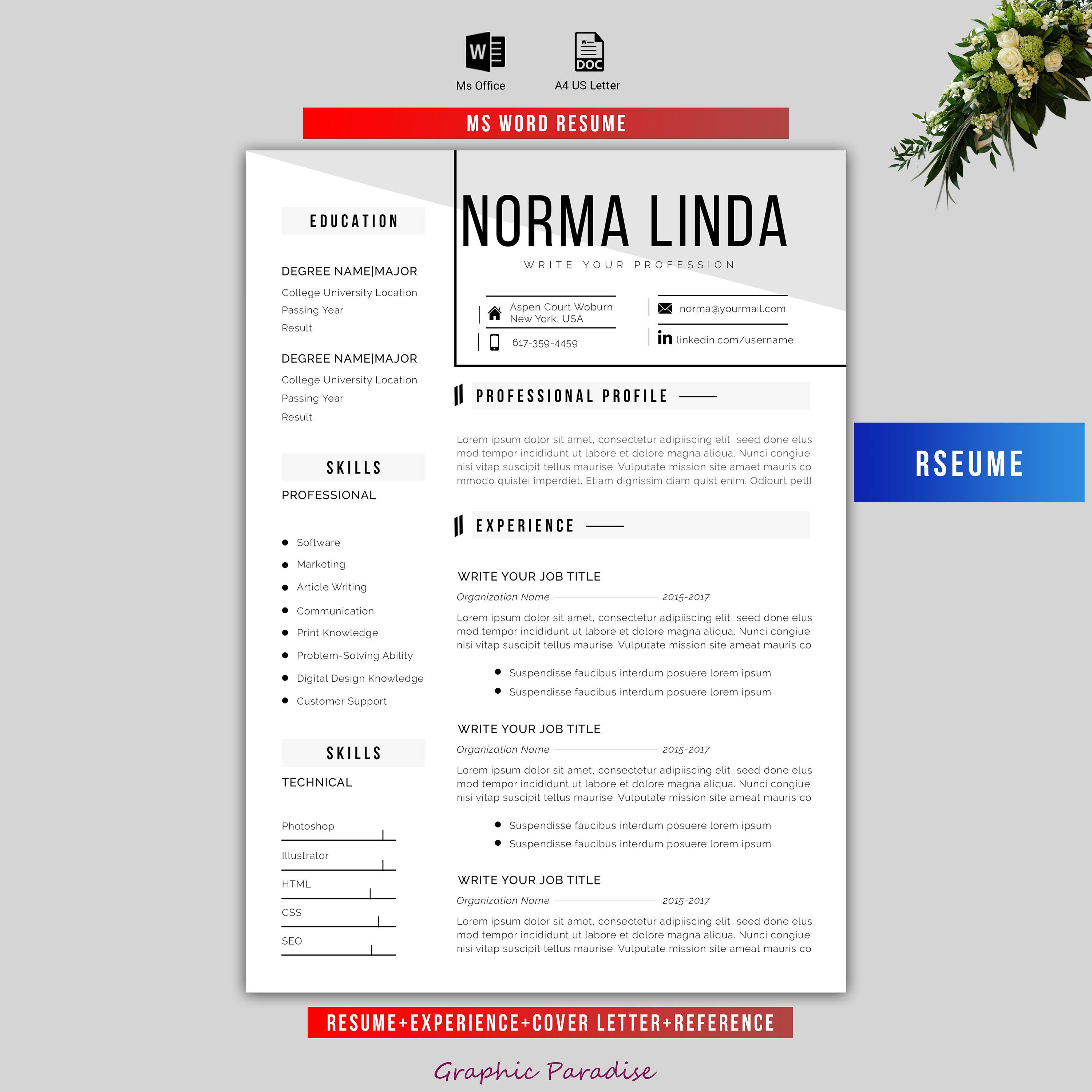 Professional Resume TemplateCv Template Instant Download  Ms Word