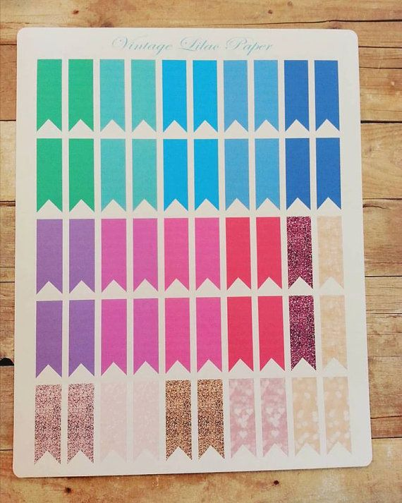 50 Banner Stickers:  Perfect for Erin Condren by VintageLilacPaper