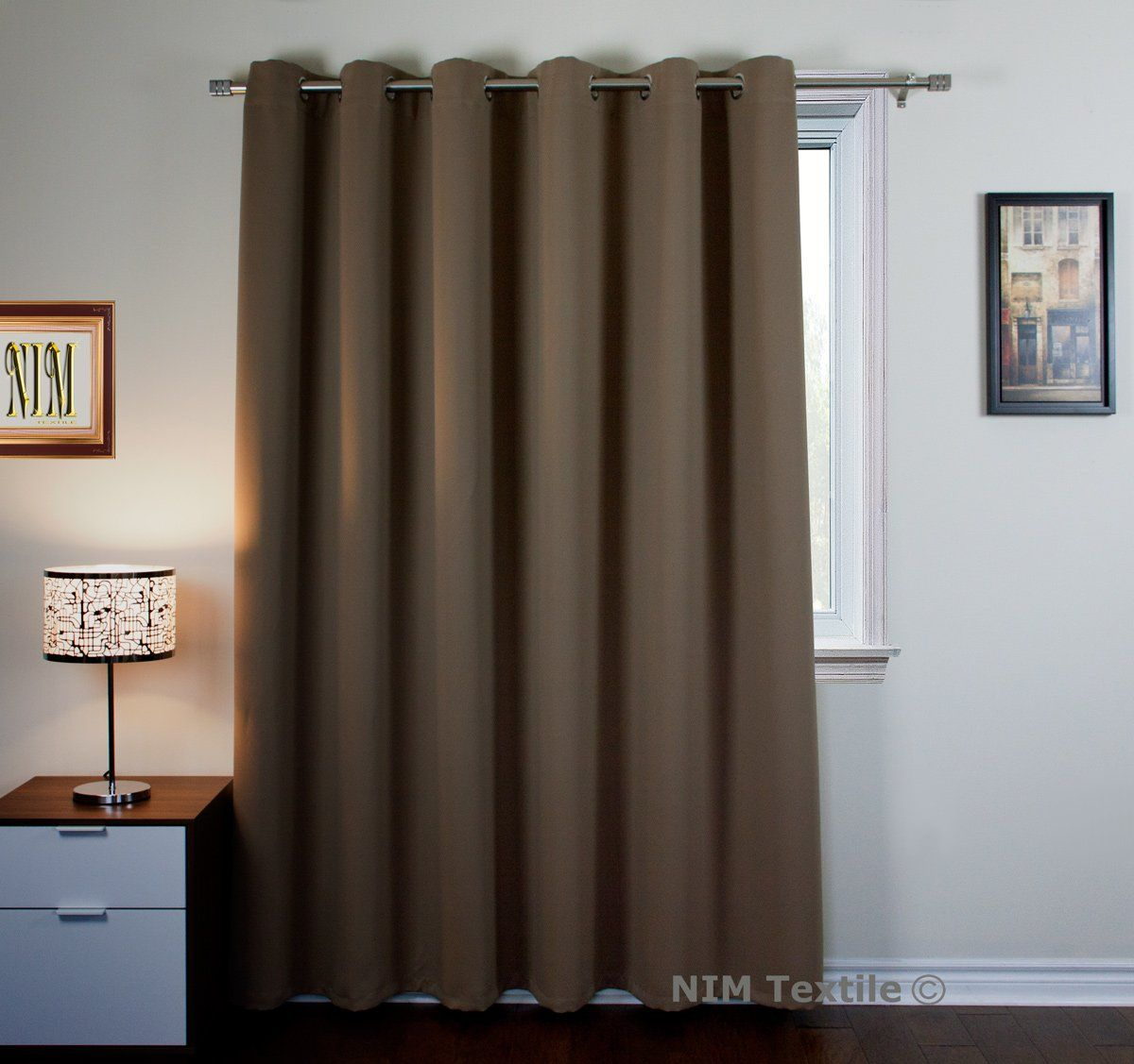 Nim Textile Grommet Curtains Thermal Insulated Blackout Drapes 95 W X 84l 1panel Mocha Sofiter Colle Curtains Custom Drapes Thermal Insulated Blackout Curtains