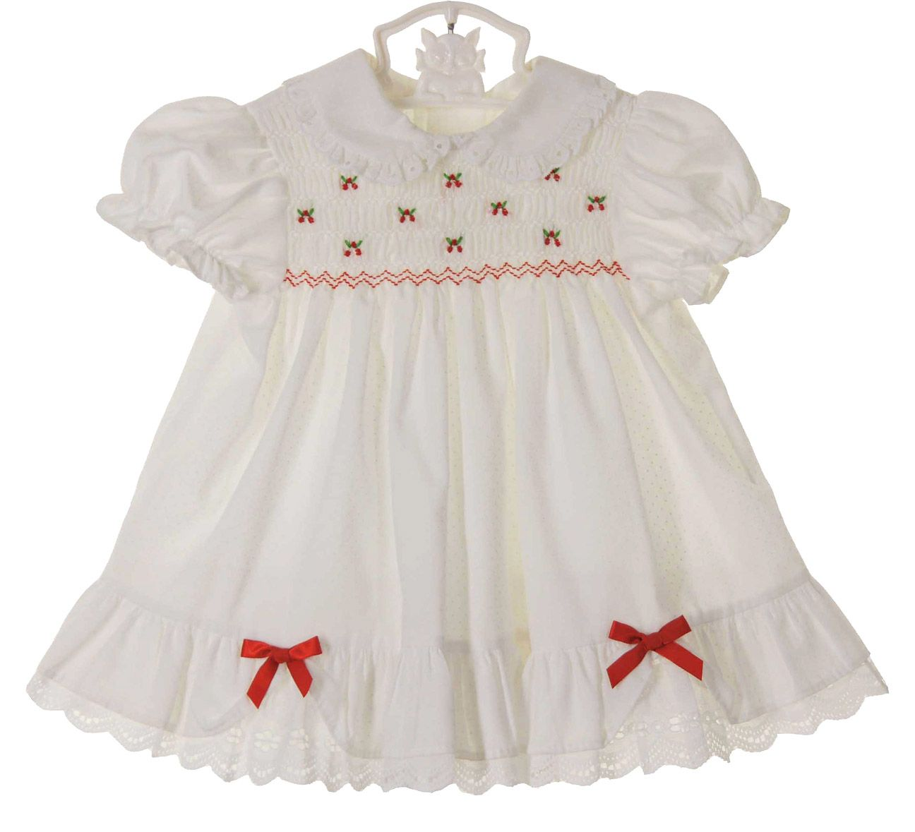 4052398b3123 Polly Flinders White Dotted Smocked Dress with Embroidered Red Flowers  $45.00