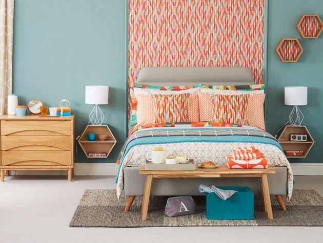 modern retro bedroom with angular prints 2