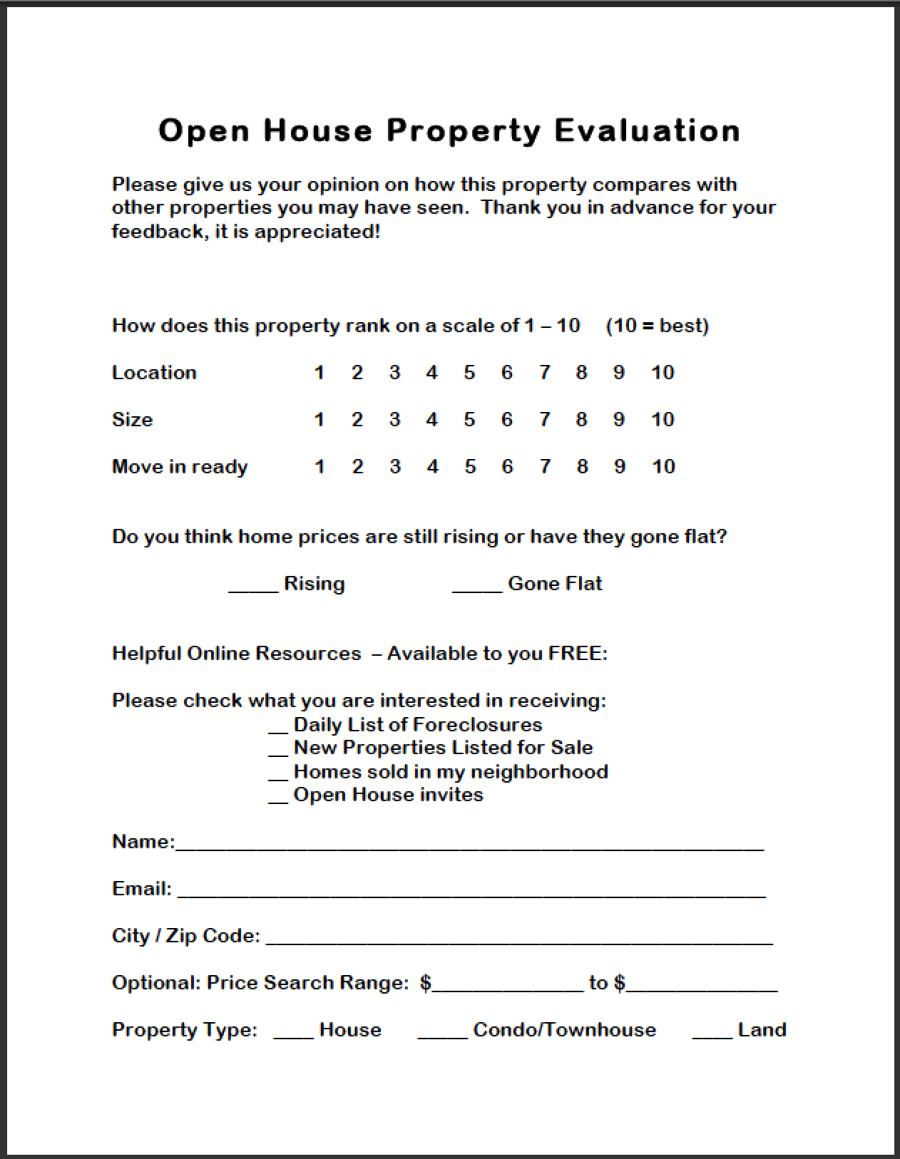 Open House Evaluation Form  Kimberly Woods El Cajon Ca