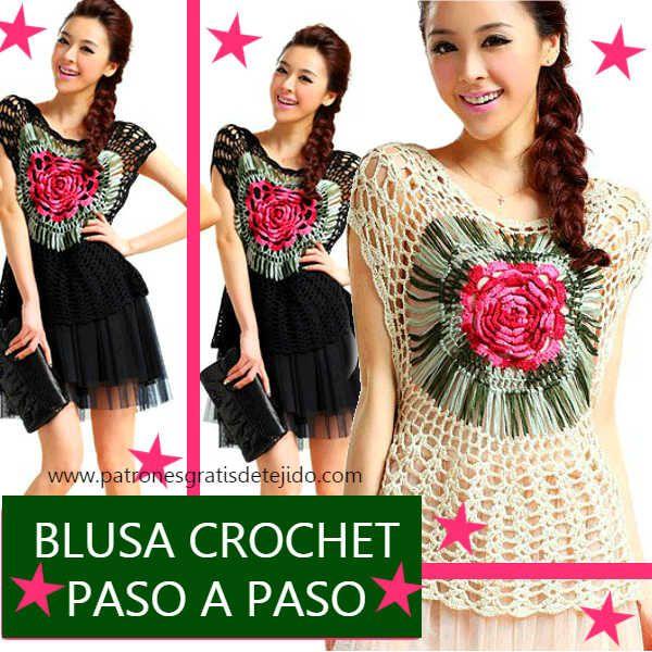Como se teje la blusa con centro circular con rosa   Crochet y Dos ...