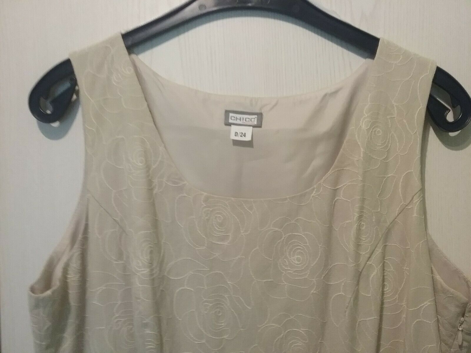 Superchices Damenkleid festliche Anlässe Gr. 14 beige Muster
