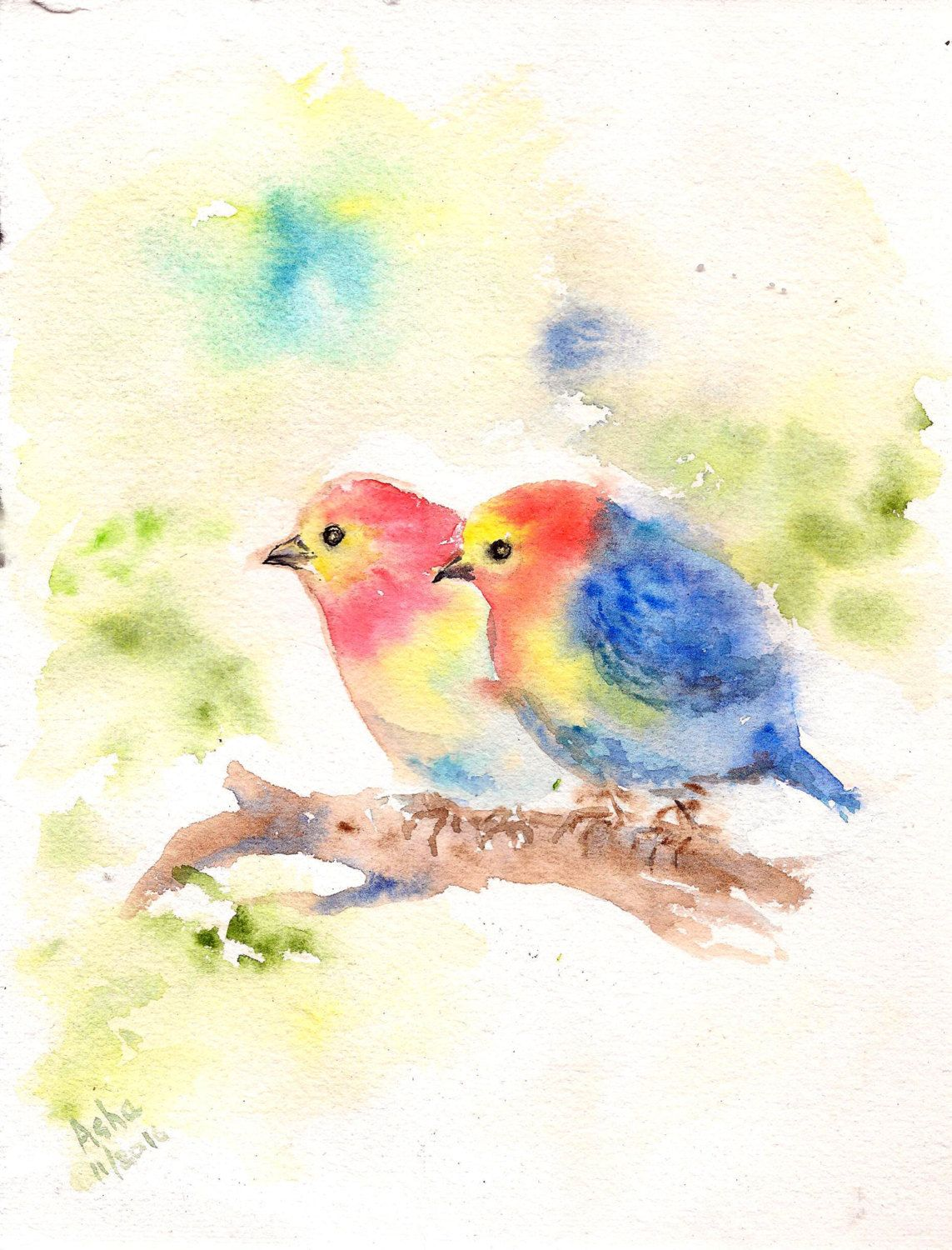 Yellow Blue Birdies Watercolor Bird Original Wall Art Tiny Bird