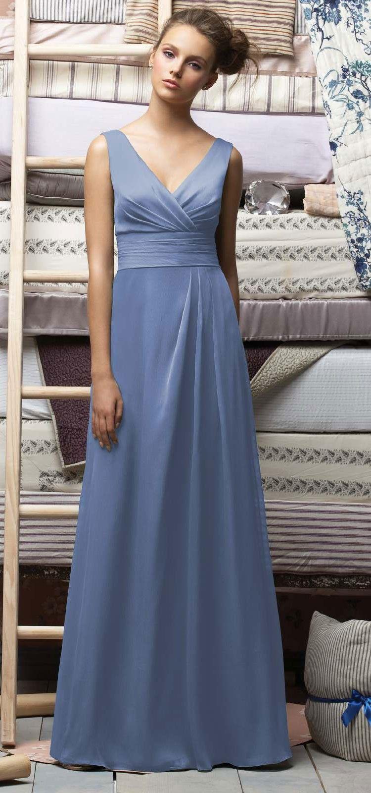 Lr142 Crinkle Chiffon Larkspur Designer Bridesmaid