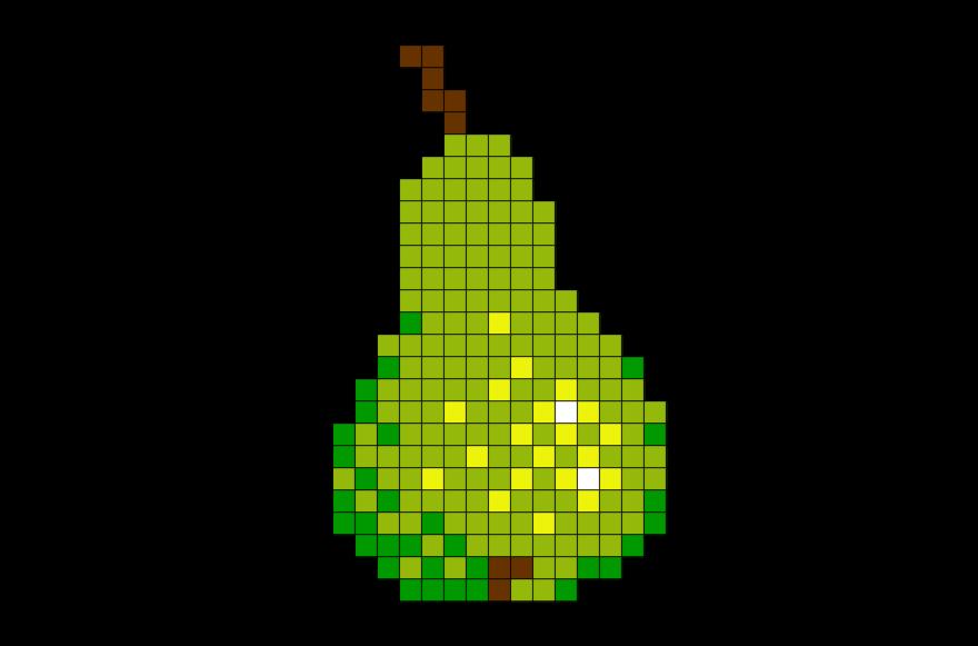 Pear Pixel Art Dessin Carreau Feuille Petit Carreau Et