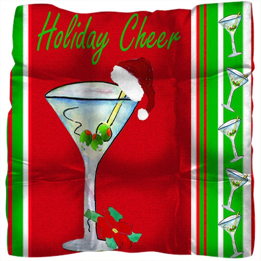 Santa martini bar Christmas chair pad – Christmas Chair Pads