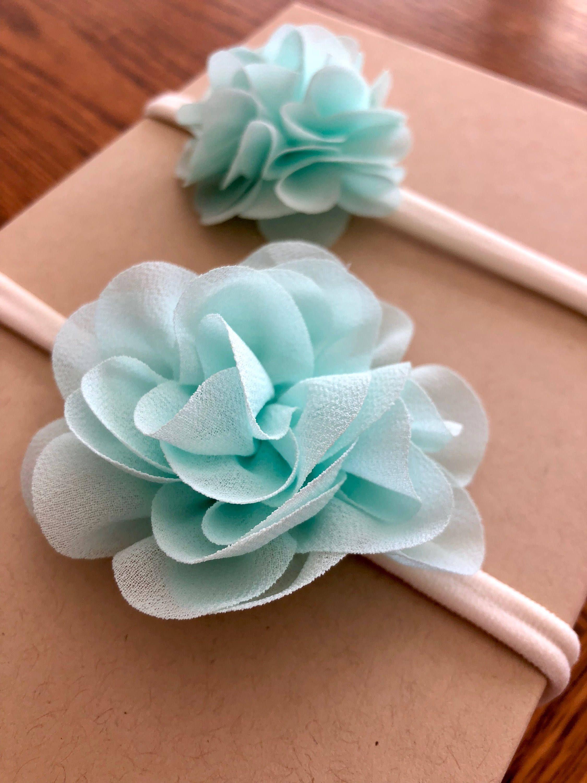 Aqua flower headband set flower headbands chiffon