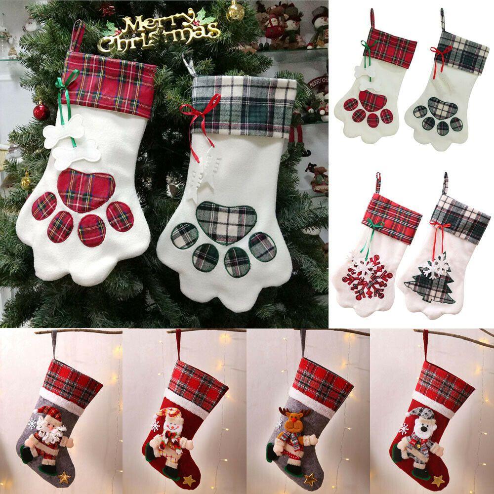 Pet Christmas Stocking Dog Paw Plaid Santaclaus Candy Gift