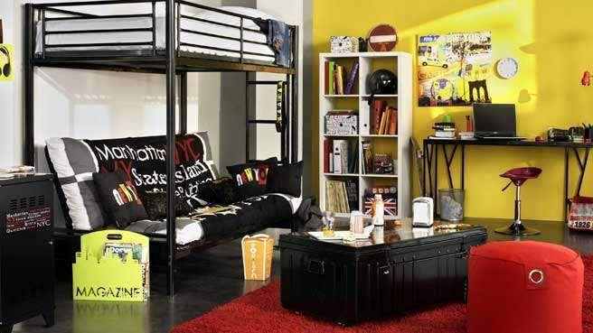 chambre ado lit mezzanine blanc noir jaune urbaine | rouge | Pinterest