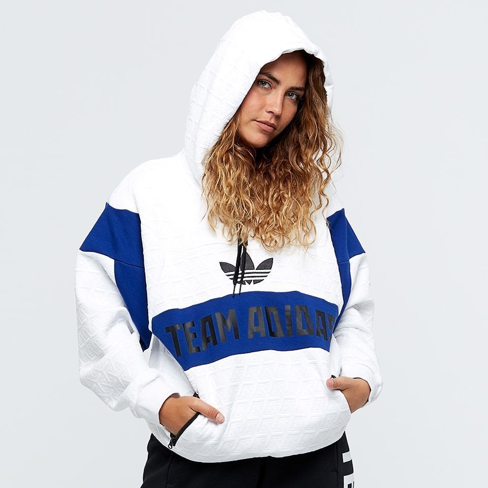 New Womens Adidas White Blue AR BR0288 Trefoil Oversized Pullover Hoodie  Small  adidas  Hoodie 4fa39dae7